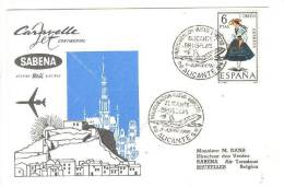 SABENA Cararelle Aviation Airlines Cover, Airplane, PU-1968 - Airmail