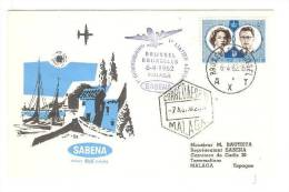 SABENA Aviation Airlines Cover, Airplane, PU-1962 - Airmail