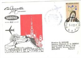 SABENA Cararelle Jet Continental Airlines Cover, Aviation - Airplane, PU-1968 - Luchtpost