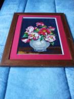 Canevas Représent Un Vase Avec Des Fleurs - Pret A Etre Posé - Cross Stitch