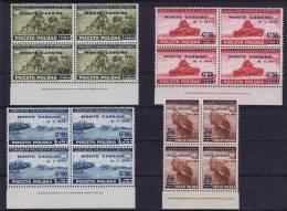 Polish Exile Gov. Issue, 1944 Mi 376-379, MNH/**, Monte Cassino, Sheetmargins Bradbury&Wilkinson Sets Of 4 - 1939-44: 2. WK