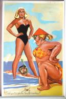 Litho Illustrateur Carriere Humour Pin Up Sexy Et Grosse Femme Plage Mari Tuba Peche Sous Marine - Humour
