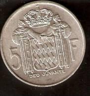 MONEDA DE PLATA DE MONACO DE 5 FRANCOS DEL AÑO 1966  (COIN) SILVER,ARGENT. - Mónaco
