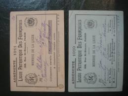 2 Cartes Adhesion Ligue Patriotique Des Francaises 1910 Et 1911 - Non Classés