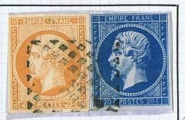 14 Et 16 Sur Fragment, Grille SARDE  Signé Sheller Au Verso - 1853-1860 Napoléon III