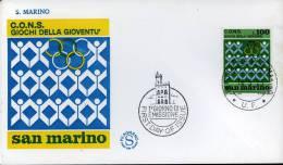 C.O.N.S. GIOCHI DELLA GIOVENTU SAN MARINO 1973 FDC  FILAGRANO - Francobolli
