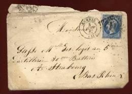 Lettre De Rennes à Strasbourg 1867  ---  5ème Artillerie Strasbourg  Let1 - Marcophilie (Lettres)