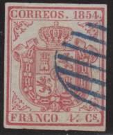 España 1854 Edifil 33 Sello º Escudo De España 4cu Sin Dentar Spain Stamps Timbre Espagne Briefmarke Spanien Francobolli - 1850-68 Kingdom: Isabella II