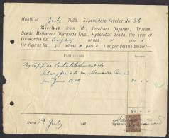 BRITISH INDIA OLD PAPER DOCUMENTS MONEY RECEIPT 1928 HYDERABAD WITH ONE ANNA KG V REVENUE STAMP - Facturas & Documentos Mercantiles