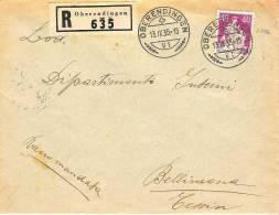 R-Brief Von OBERENDINGEN 13.IX.35 Nach Bellinzona Mit Zu-Nr.176 (y Oder Z ?) - Schweiz