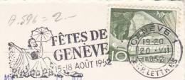 Flamme Des Fêtes De Genève 15 - 18 Août 1952 Sur Carte Postale  / Affranchissement No 299 - Suisse