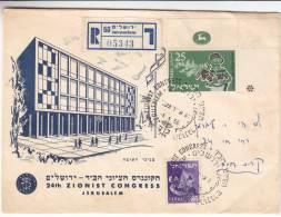 Congrès Zioniste  - Israël - Lettre Recommandée De 1956 - Israel