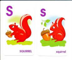 2 Images Format 13,5 X 7,8 Cm  /  S Comme Squirrel / Ecureuil Et Gland De Chêne  /  Animal  // BIM 80/2 - Trade Cards