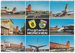 TRANSPORT AVIATION AERODROMES MUNCHEN RIEM 8 FOTOS OLD POSTCARD - Aerodrome