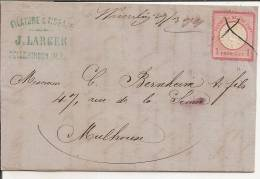 LETTRE,cover,LAC,Allemagn E Yv 16,Haut-Rhin WESSERLING,29/3/1874 Manuscrit,annulation Plume,Mulhouse,Alsace Lorraine - 1871-1875 Ceres