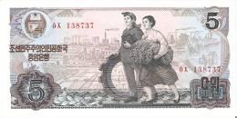 BILLETE DE COREA DEL NORTE DE 5 WON DEL AÑO 1978 (BANKNOTE) SIN CIRCULAR-UNCIRCULATED - Corea Del Norte