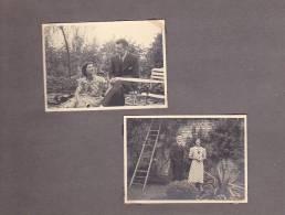 20984- 5 Photo Originales 2 8x5cm, Belgique, Femme Jardin, Vers 1938 - Personnes Anonymes