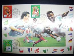 FRANCE FDC  Sur Soie   COUPE DU MONDE  De FOOT 1998   Tirage  1500   Expl. - Cartoline Maximum