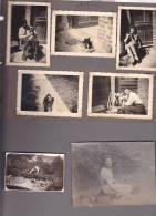 20986- 6 Photo Originales  8x5cm + 1 9x11cm, Belgique, Femme Jardin, Couple Chien Peggy 1945 - Personnes Anonymes