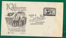 ANTARTIC ARGENTINA  - 1961 SAN MARTIN ANTARTIC BASE FD Card - Polar Dogs - Antartic Map - Antartic Ship Cancel - Polar Philately