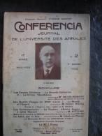 CONFERENCIA  Journal De L´université  Des Annales N°2 HENRY BIDOU,JULES RENARD 1er  Janvier  1923 - Books, Magazines, Comics