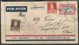 ARGENTINA - VIA AEREA - Cie. Gle. AEROPOSTALE - VF 1933 COVER From To HAMBURG - FLUGHAFEN Red Cancel - Luftpost