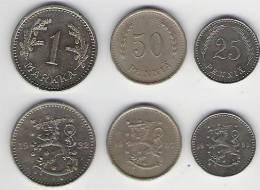 Finnland  KM 25  25 Penniä 1930, KM 26  50 Penniä 1937, KM 30 1 Markkaa 1932 - Finlande
