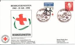 Denmark Cover Red Cross Nyborg 27-10-1990 With Cachet - Rode Kruis
