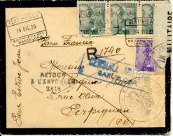 Certificado De Barcelona A Francia, Devuelta A Origen 1939 Sellos Franco Con Pié.Censura. Cover. Lettre. Ver 2 Scan - Marcas De Censura Nacional