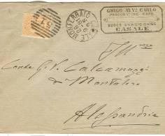 CASALE MONFERRATO, TIMBRO NUMERALE TONDO A BARRE 51 ,  SU BUSTA VIAGGIATA 1881, X  ALESSANDRIA, - 1878-00 Umberto I