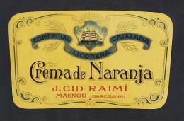 Etiquette De Liqueur: Creme D´ Orange Decoupee (13 X 7´5 Cms) (Ref.47671) - Labels