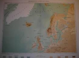 Profondeurs De L´Atlantique Boréal - Tirage D´époque - 1878. - Geographical Maps