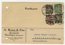 Deutsches Reich Michel No. 140 , 159 a , 167 gestempelt used auf Karte