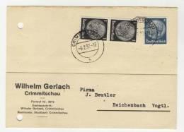 Deutsches Reich Michel No. 512 , 514 gestempelt used auf Karte