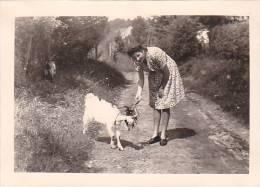 21030- 7 Photos Originales  6x9cm Femme Sans Doute Belge Belgique Vers 1950 - Chevre