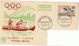 28/11/1953 - FDC - Athlétisme Médaille D´or - Canoë + Yvert & Tellier N° 963 - FDC