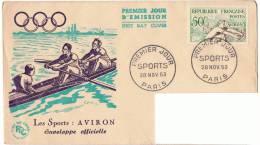 28/11/1953 - FDC - Athlétisme Médaille D´or - Aviron + Yvert & Tellier N° 964 - FDC