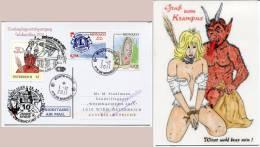 PM 8031142 Weihnachtsflug 2011 Wien - Oberndorf Zuleitung Ab Monaco  Marke, Stempel Und Karte Gruss Vom Krampus (#019) - AUA-Erstflüge