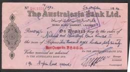 PAKISTAN Old Bank Demand Draft Document, The Australasia Bank Ltd. Lahore 5-10-1964 - Bank & Insurance