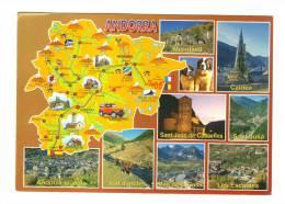 Andorre: Carte Geographique, Merritxell, Caldea, Sant Joan De Casselles, Sant Julia, Les Escaldes, Vall D' Incles - Andorra