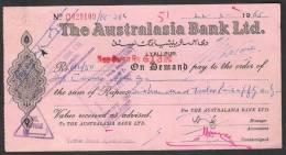 PAKISTAN Old Bank Demand Draft Document, The Australasia Bank Ltd. Lyallpur 22-3-1965 (Faisalabad) - Bank & Insurance