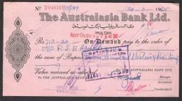 PAKISTAN Old Bank Demand Draft Document, The Australasia Bank Ltd. Multan 20-3-1965 - Bank & Insurance
