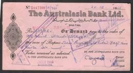 PAKISTAN Old Bank Demand Draft Document, The Australasia Bank Ltd. Multan 20-12-1966 - Bank & Insurance