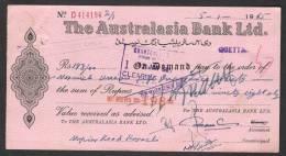 PAKISTAN Old Bank Demand Draft Document, The Australasia Bank Ltd. Quetta 5-1-1965 - Bank & Insurance