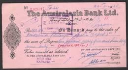 PAKISTAN Old PAKISTAN Old Bank Demand Draft Document, The Australasia Bank Ltd. Sialkot 22-3-1965 - Bank & Insurance