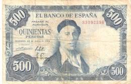 BILLETE DE ESPAÑA  DE 500 PTAS 22/07/1954 SERIE 5  RC ZULOAGA (BANK NOTE) - [ 3] 1936-1975 : Régence De Franco