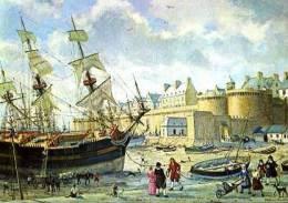 Blandin Étienne Déchargement D'un Vaisseau Devant Le Ravelin De La Grande Porte à St Malo (35) - Peintures & Tableaux