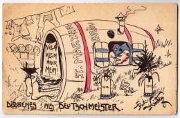 MILITARIA DIOGENES AS GERMAN MASTERS OLD POSTCARD - Humour