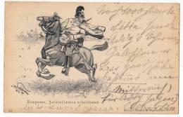 MILITARIA DRAGOON, INTEREFFANTES ECLAIRIREND OLD POSTCARD 1897. - Characters