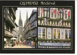 """29 - QUIMPER Médiéval - La Rue Kéréon Et La Façade De La Maison Dite """"Henriot"""" Place Saint Corentin - éd. JOS - Quimper"""